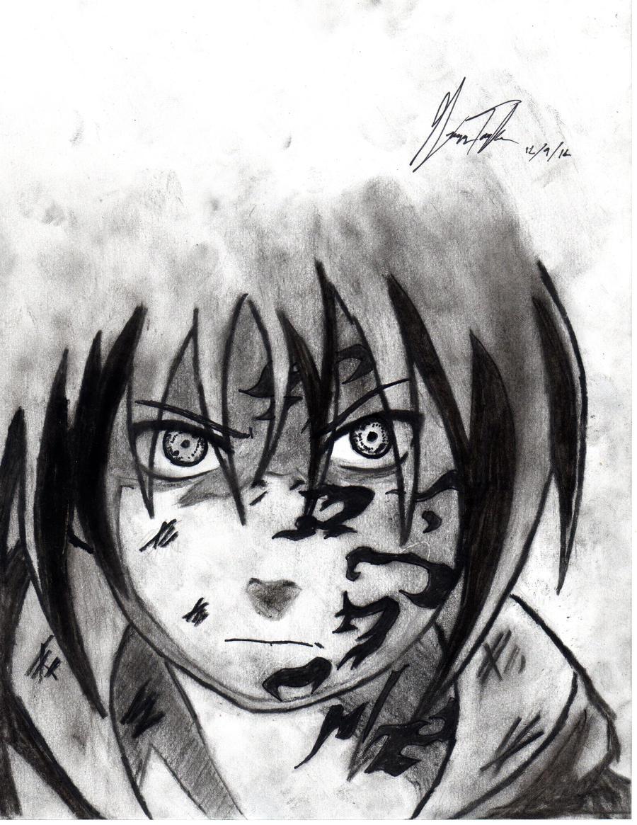 Sasuke uchiha charcoal drawing curse mark by ...
