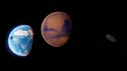 Earth, Moon And Mars by MetamorpheSTLK