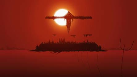 Dark city and pyramid ship