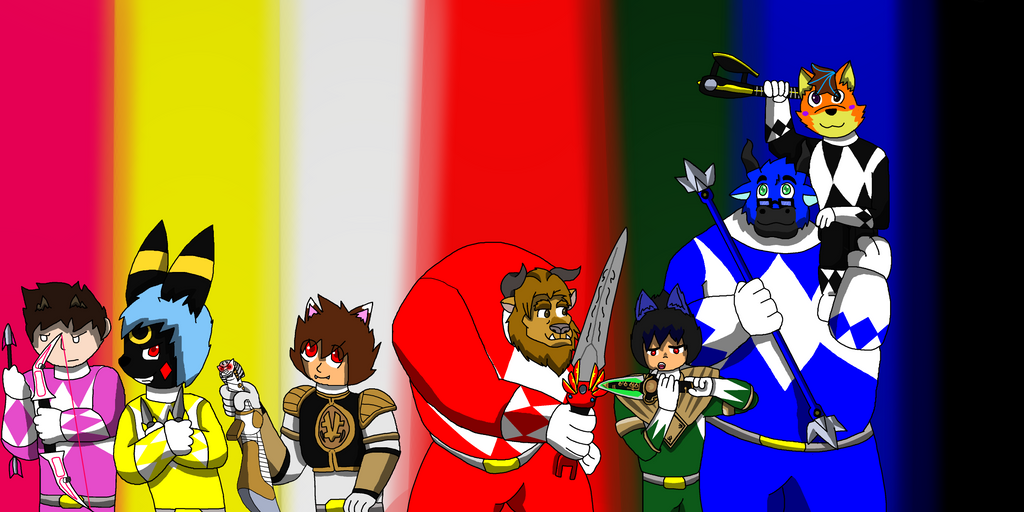 Mighty Morphin' Furry Rangers by TheAnnonymousKat by BenBandicoot