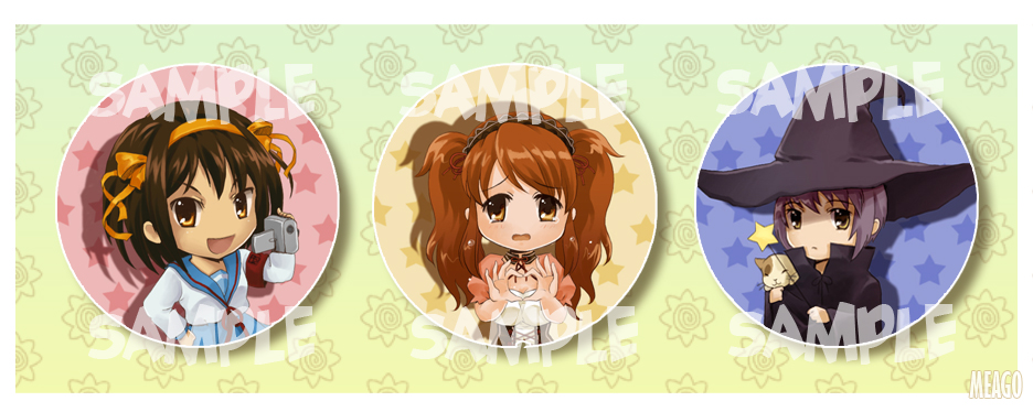 Haruhi button set  XD by meago