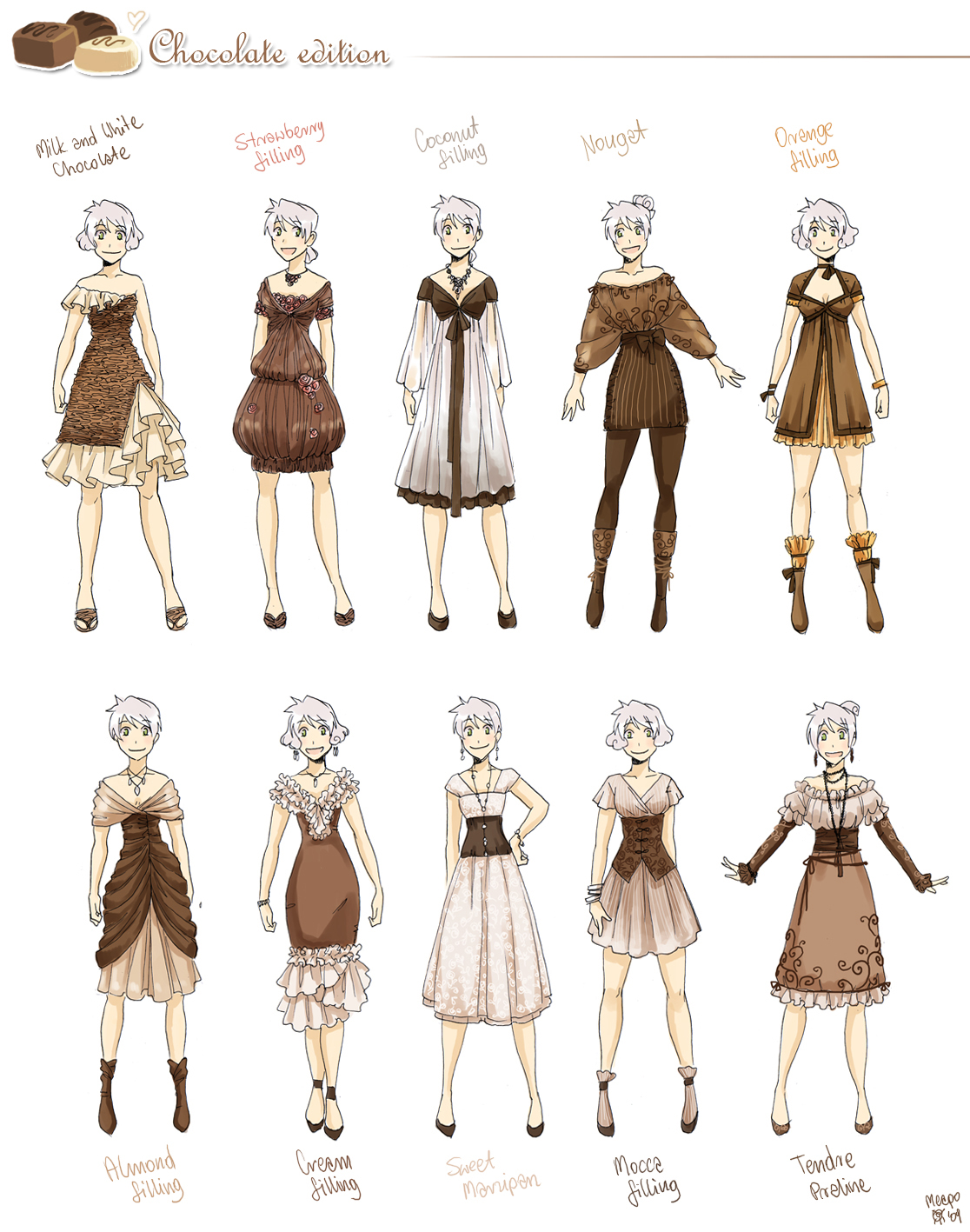 Character Design Outfits : Various female clothes by meago on deviantart