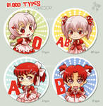 Blood types button set