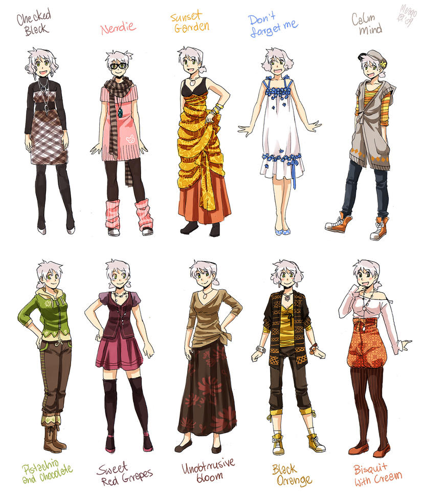Character Design Artist Interviews : Various female clothes by meago on deviantart