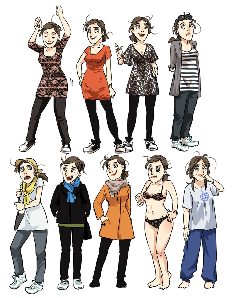 Cartoon Characters Clothes : Meago various clothes by on deviantart