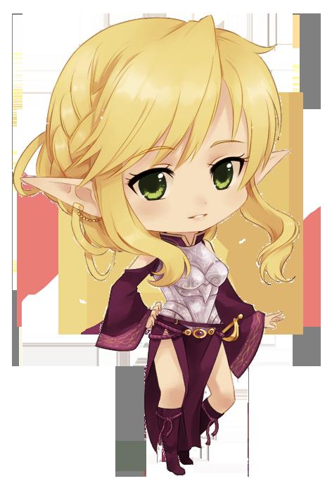 Kawaii menina loira elfa png fofa chibi.