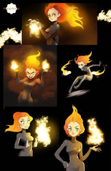 Flame girl Pyria + some fire brushes