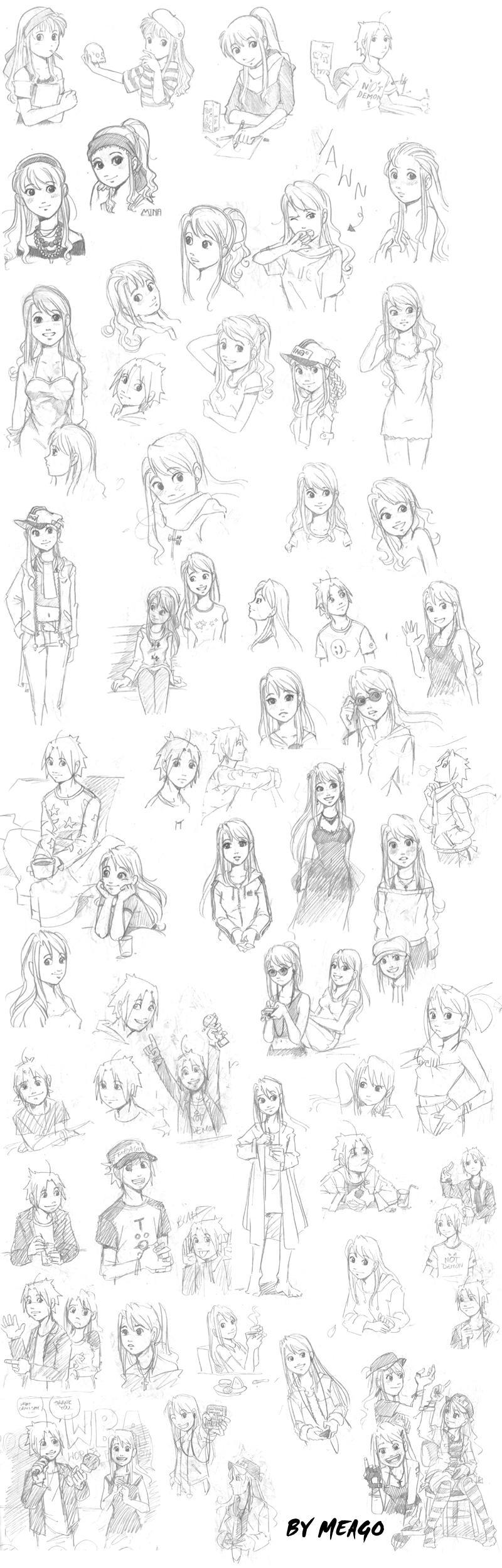 Meago Saga random sketches by meago