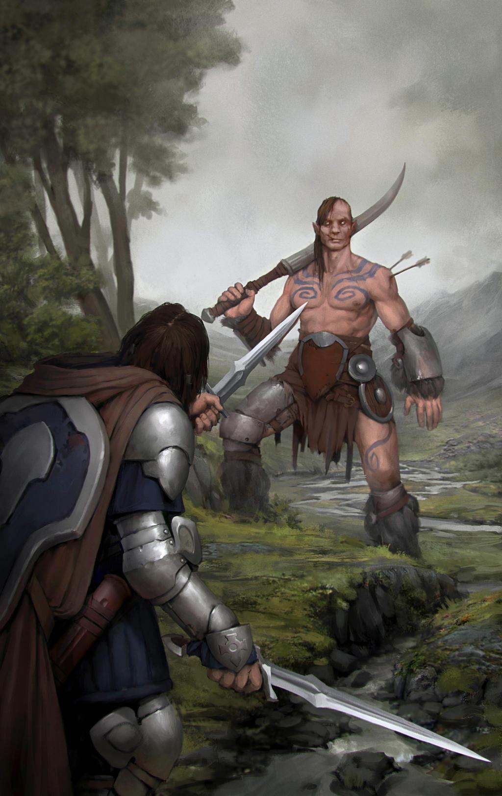 Jotun and the knight by Igor-Zhovtovsky