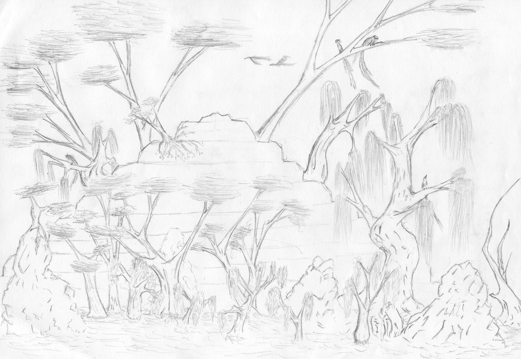 Line Art Jungle : Jungle scenery with temple by davith on deviantart