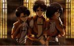 Levi, Eren, and Mikasa