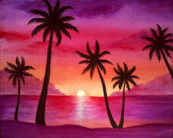 Sunset with palms by diana-0421