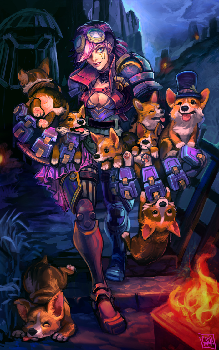 Vi with corgies like shes the queen of england by mishinsilo