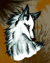 White Red-Eyed Wolf by devALLjapan