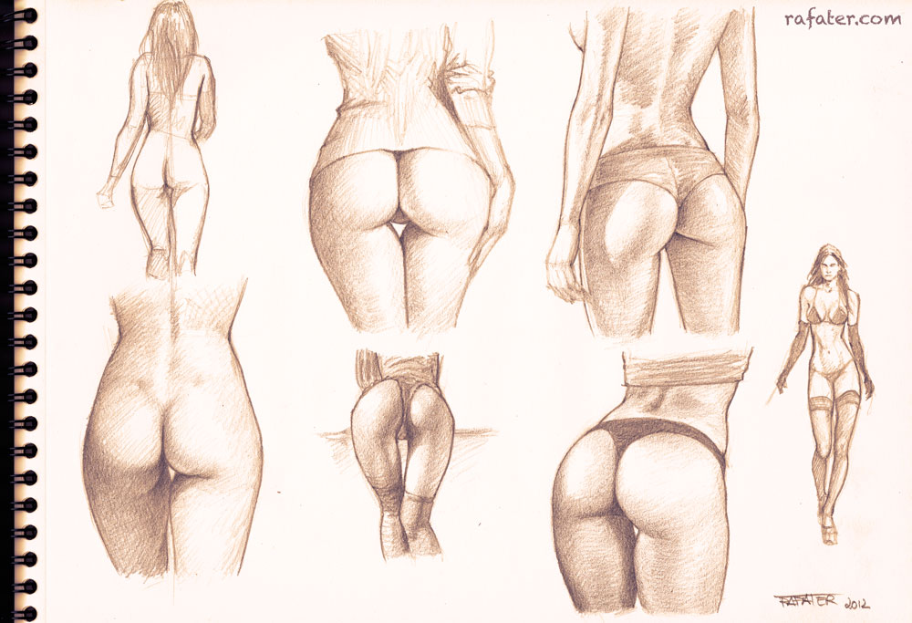 buttocks studies - pencil drawing by rafater