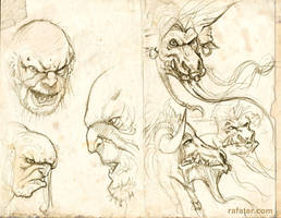 Trolls and Minotaurs sketches by rafater