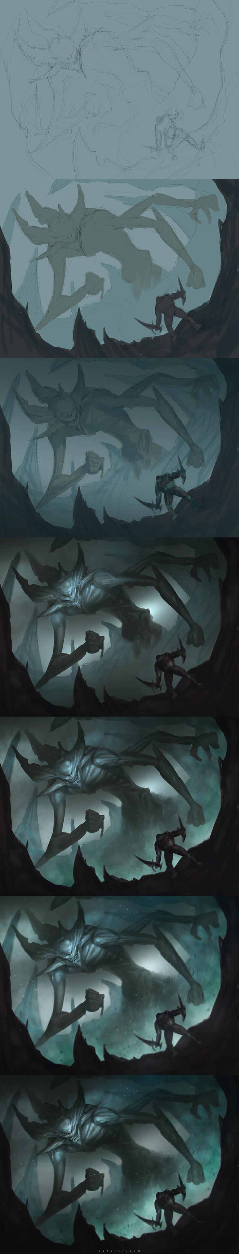 Speedpainting: Fog demon step by step by rafater