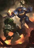 Warhammer - Space Marine vs. Ork by rafater