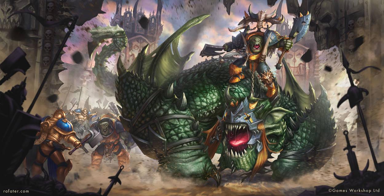 Warhammer - Gordrakk, Fist of Gork, on Maw-krusha by rafater