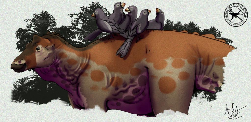Paleo-Art: Hadrosaur-Peckers by vcubestudios