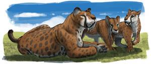 Paleo-Art: Smilodon Family Sketch by vcubestudios