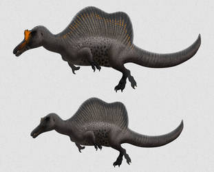Paleo-Art: Spinosaurus Male and Female by vcubestudios