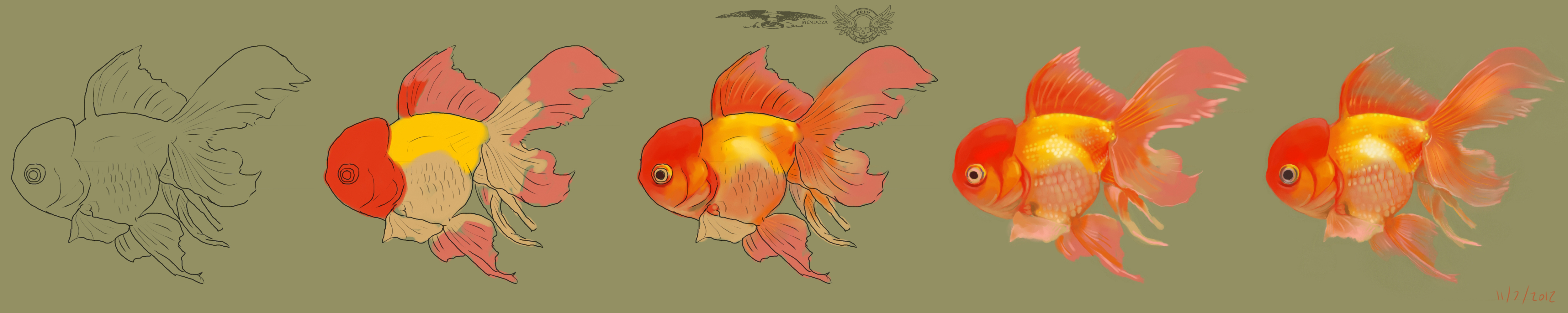 Gold fish painting progression by kingreddark on deviantart for How to paint a fish