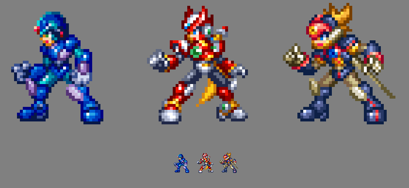 MMZ Original X, Zero, and Axl in UMX / MMX9 style. by MegaManGamer123