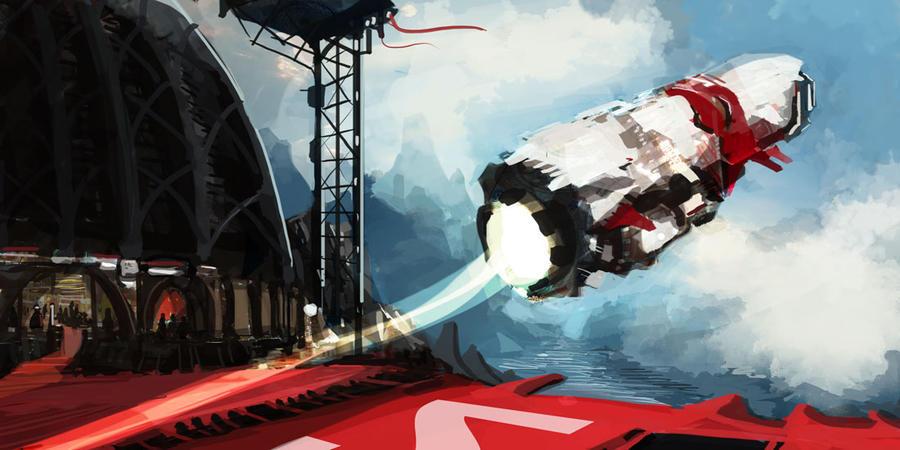 Speedpaint Sci-Fi Take off by Pymous