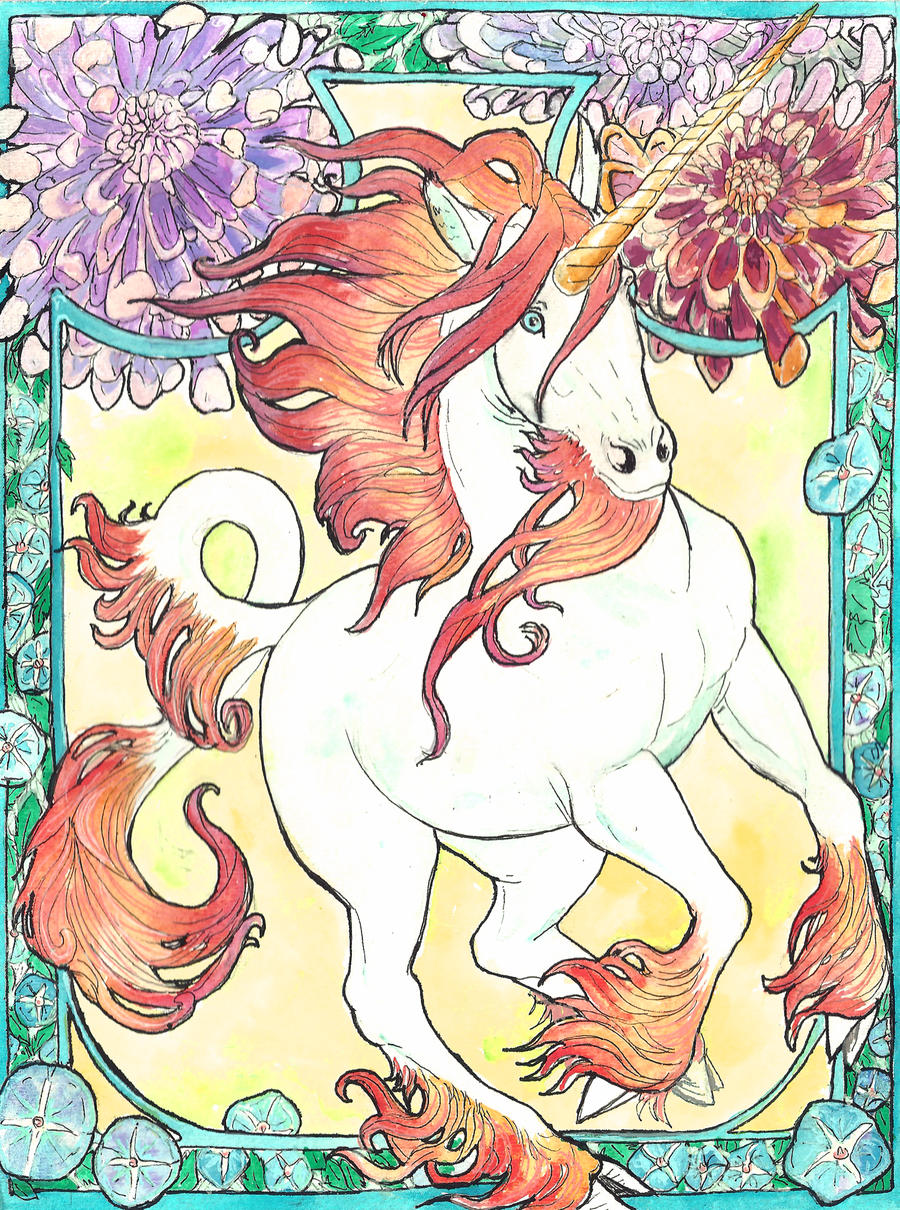 art nouveau unicorn watercolor