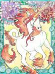 art nouveau unicorn watercolor