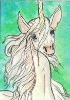 Unicorn traditional aceo by jupiterjenny