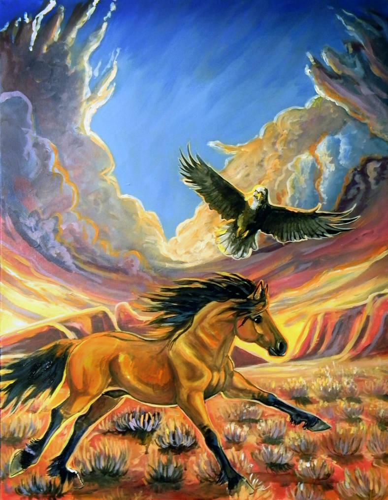 Spirit and eagle Morining Run by jupiterjenny