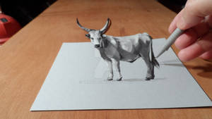3D Drawing Grey Cattle
