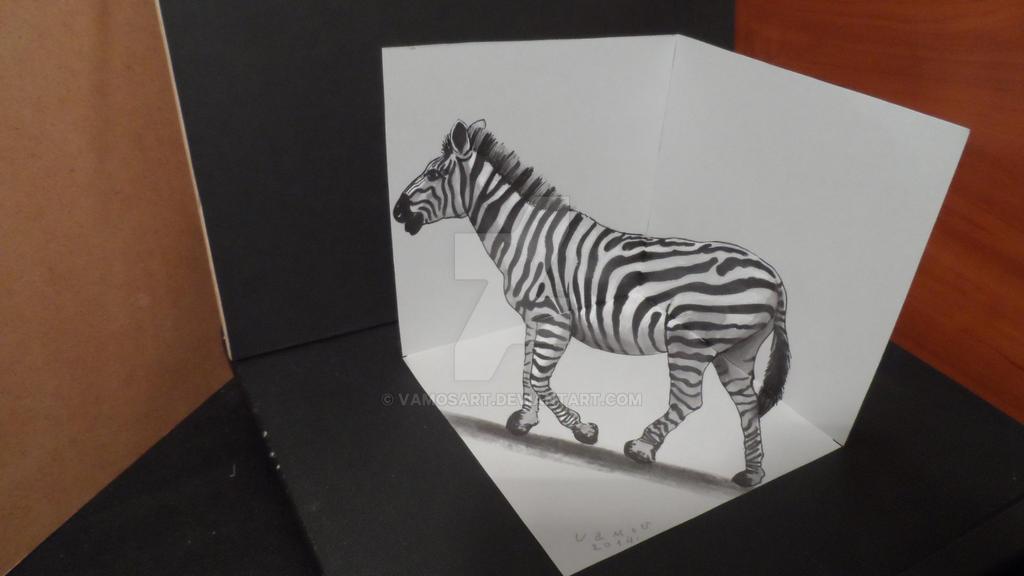 drawing 3d zebra trick art on paper by vamosart on deviantart