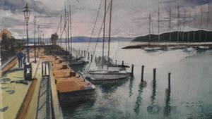 Harbour Balatonfured, Watercolour