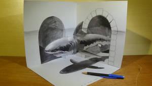 Great White Shark in 3D, Anamorphic Art