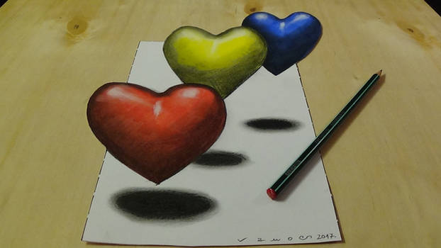 Coloring 3D Hearts by VamosArt