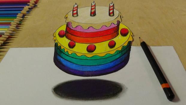 3D Levitating rainbow cake