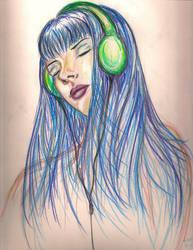 Sketch - Music Chick by HellcatVanDamme
