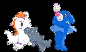 Gomamon and Popplio to Animal Crossing's World