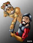 Guerrero Jaguar golpeando