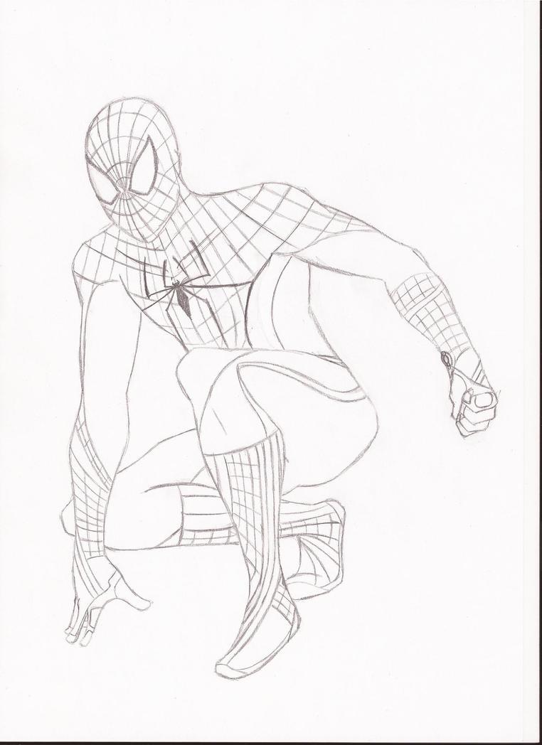 Bonito Increíble Spiderman Para Colorear Bosquejo - Enmarcado Para ...