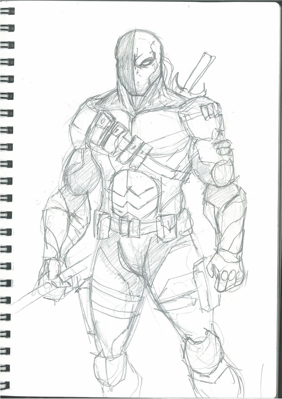 Deathstroke pencil drawing sketch coloring page for Deathstroke coloring pages