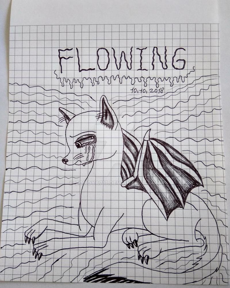 Inktober Day 10: Flowing by Zonoya717
