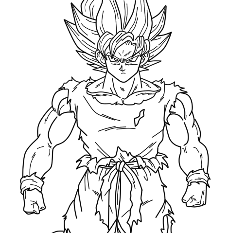 Goku super saiyan lineart by pinkycute03 on deviantart for Goku coloring page