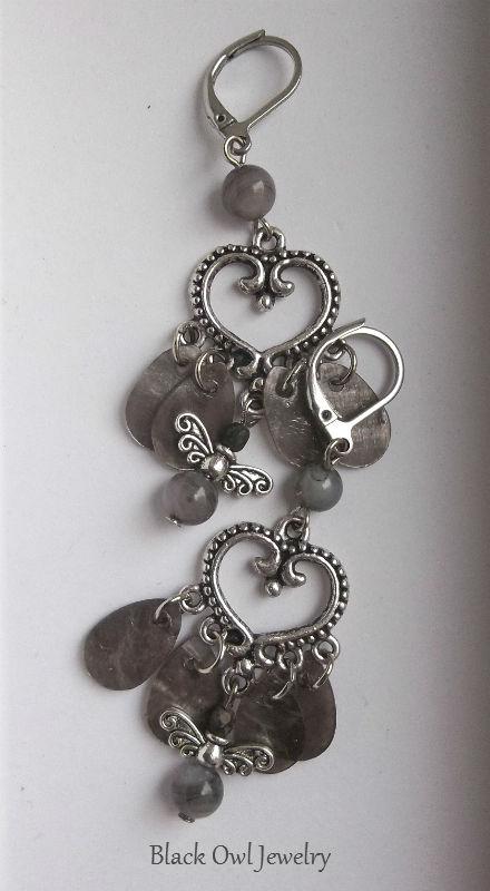 My Gray Heart earrings by IdolRebel