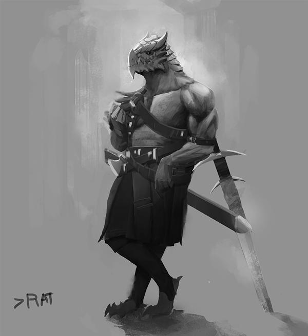 Dragonborn Barbarian by SergIole