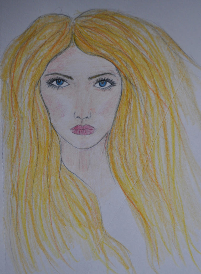 Long Haired Beauty Coloured Pencils by Forestina-Fotos