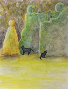 Cats in the Topiary Garden